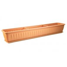 Ящик балконный Алиция 100см белая глина с поддоном М3218